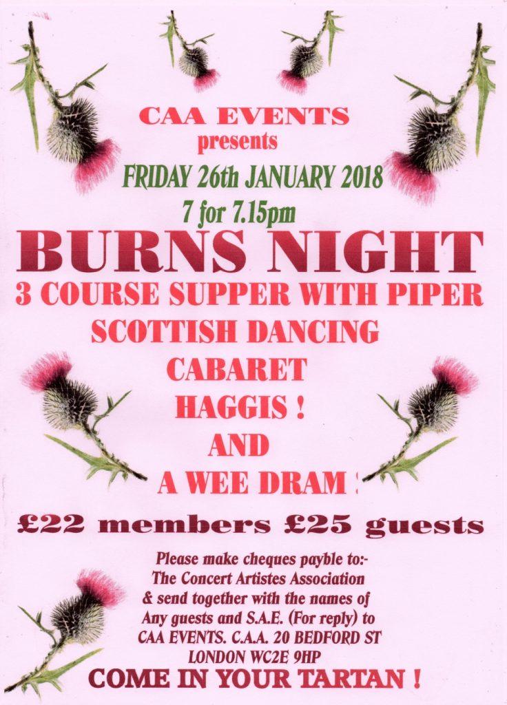 Burns Night at The CAA