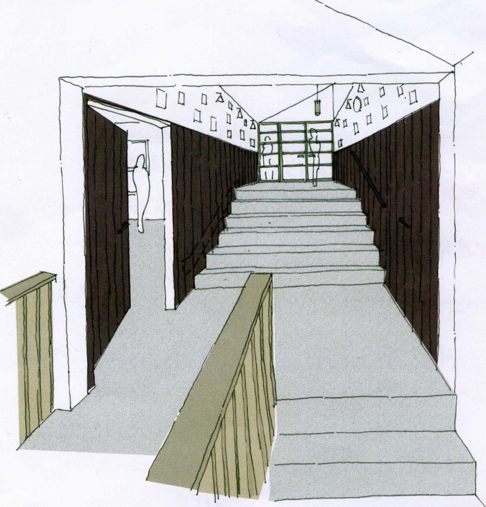 Proposed stairway and bar entrance
