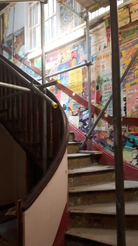The staircase under refurbishment