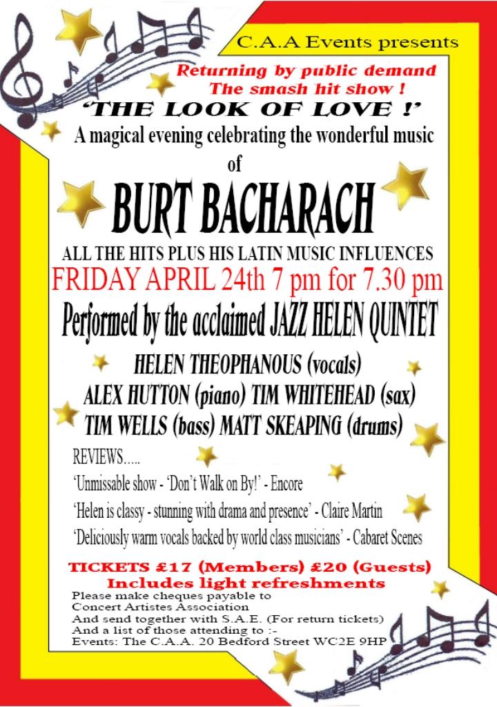 2020.04.24 Burt Bacharach Show Poster