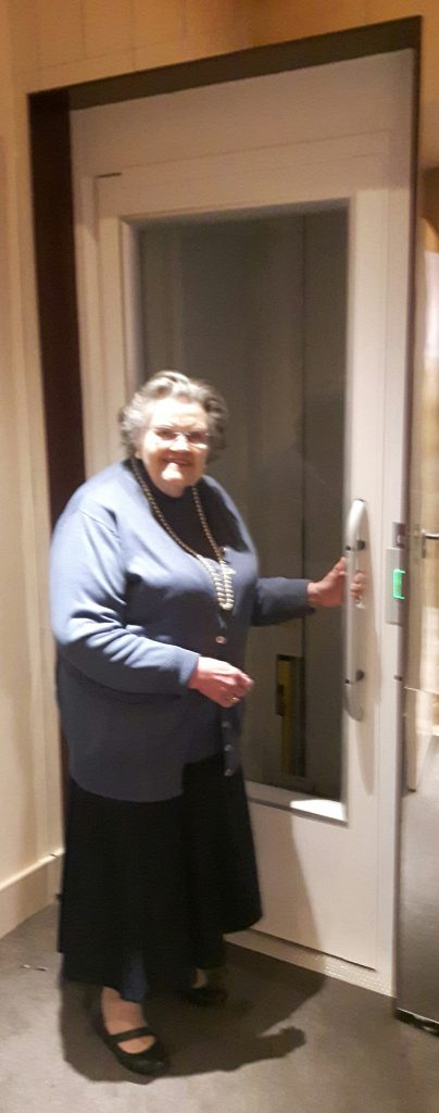 Betty Crosskey tries out the new lift